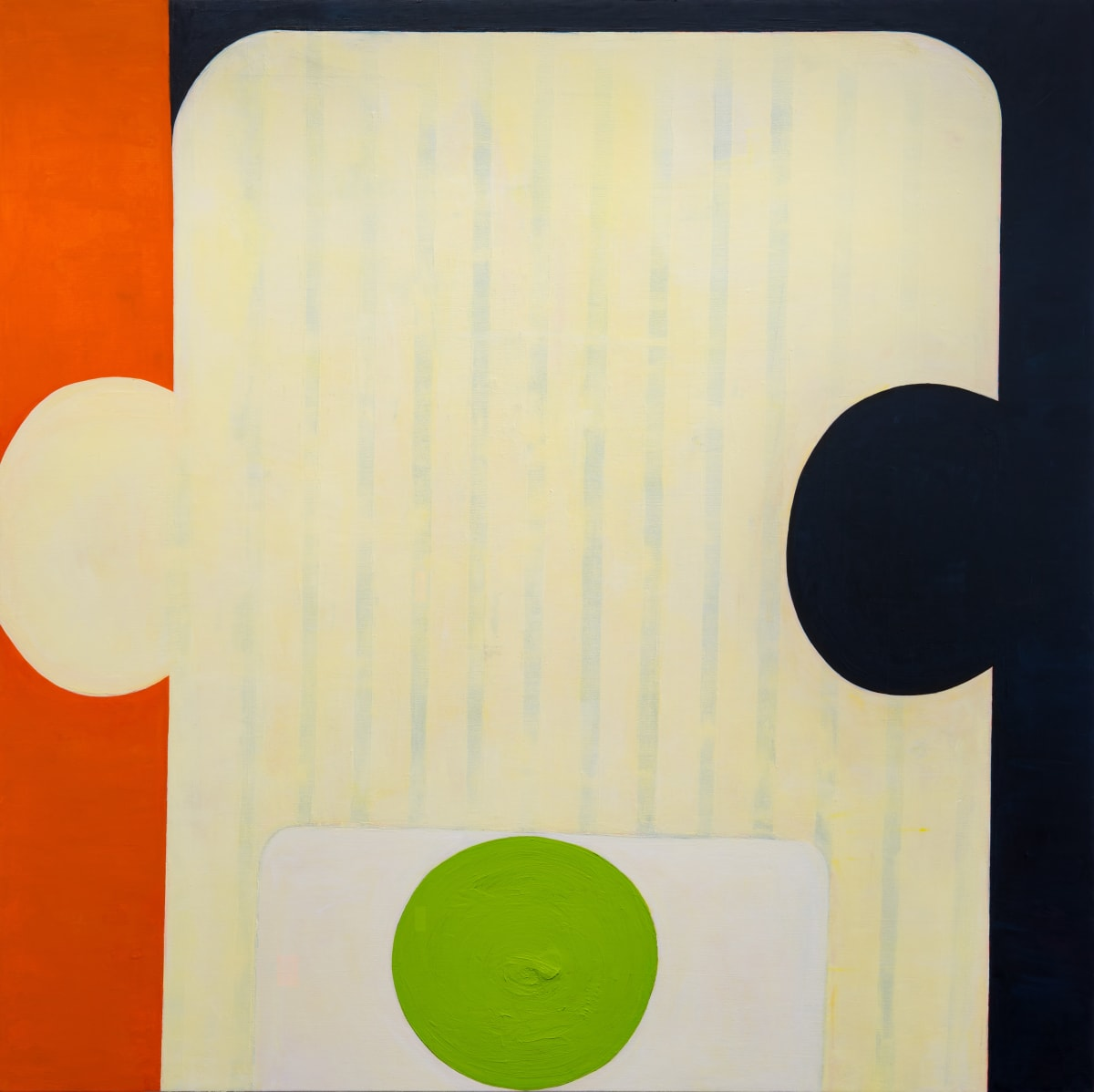 "Fran Shalom's ""Lighten Up"" done with oil on canvas in shades of beige, black, green and orange. The painting appears flat, but there is a clear contrast with warm and cool colors creating an illusion of depth. The bigger shape is like a puzzle piece."