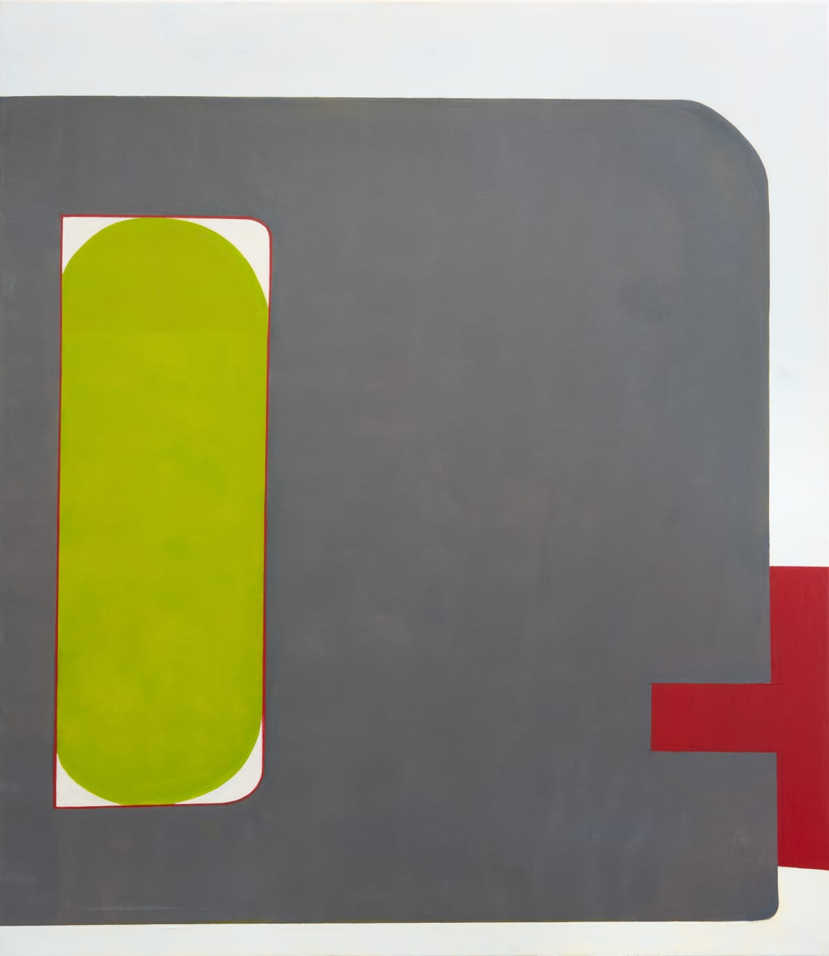 "Fran Shalom's ""Holding On"" done with oil on wood in shades of green, gray and red. There is a clear contrast with bright and dark colors in regards to the shapes. The shape looks like an object with a handle that can be held on as the title suggests."