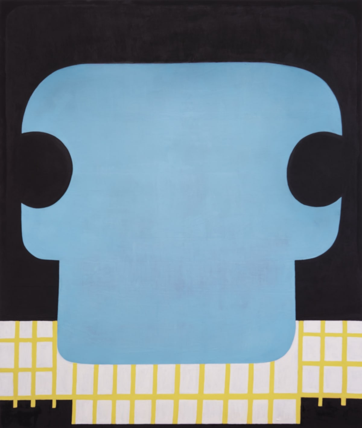 "Fran Shalom's ""Dropping the Story"" oil painting on canvas in flat shades of blue, yellow, black and white. The blue design in the foreground is overlapping the background that resembles a room with yellow gating."