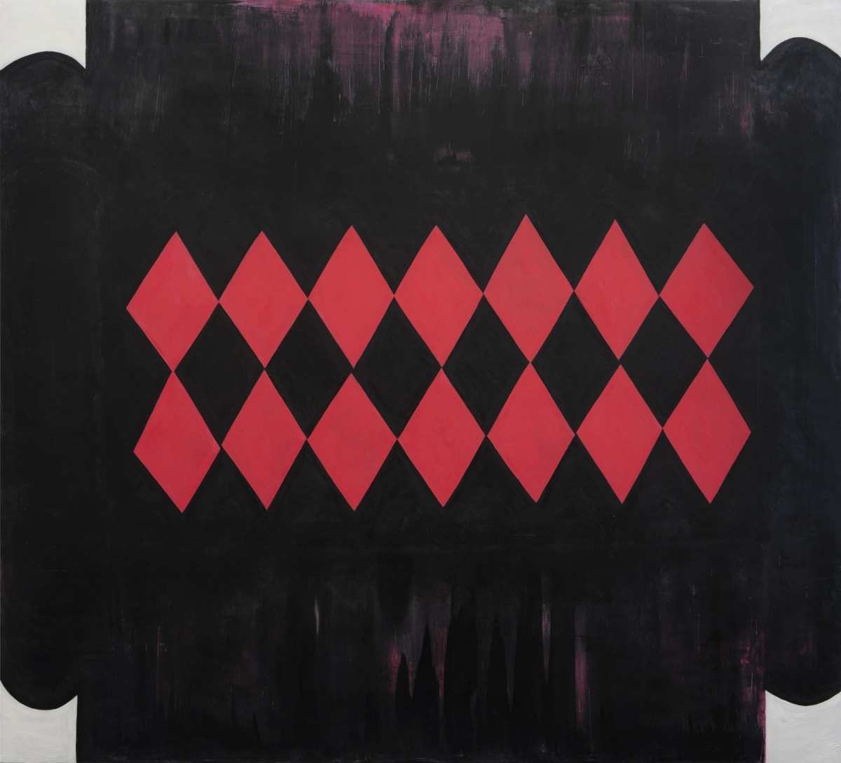 "Fran Shalom's ""We're All in this Together"" oil painting on canvas in shades of black, red, gray and purple. The painting depicts a dark area with red diamond shapes put together. The diamond can resemble those that are all together."