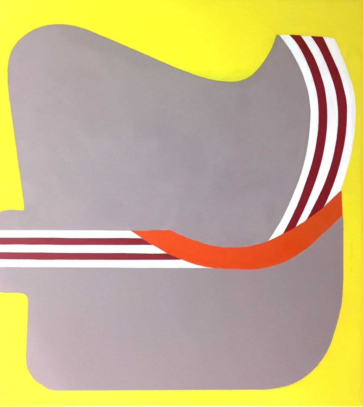 "Fran Shalom's ""How Much is Enough"" oil painting on canvas in shades of yellow, gray, red and orange. The painting depicts a large shape almost resembling a classroom desk but with smaller line strokes curving at the center."