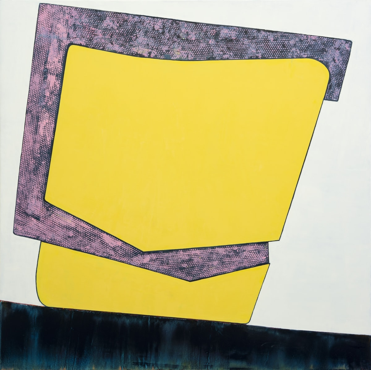 "Fran Shalom's ""Old Habits Die Hard"" oil paintings on canvas in shades of yellow, pink, gray, blue and black. This abstract painting looks like a square that has a more detailed texture attached onto another object that is a flat texture."