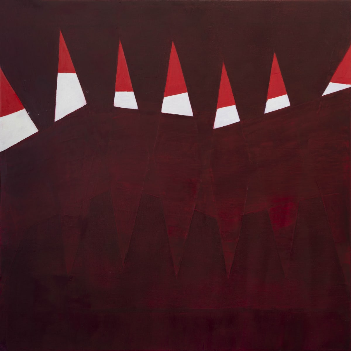 "Fran Shalom's ""Right View"" oil painting on wood in various shades of red and white. The painting appears to have differently sized triangles, ones that are bright on the top while the bottom triangles are part of the darker background."