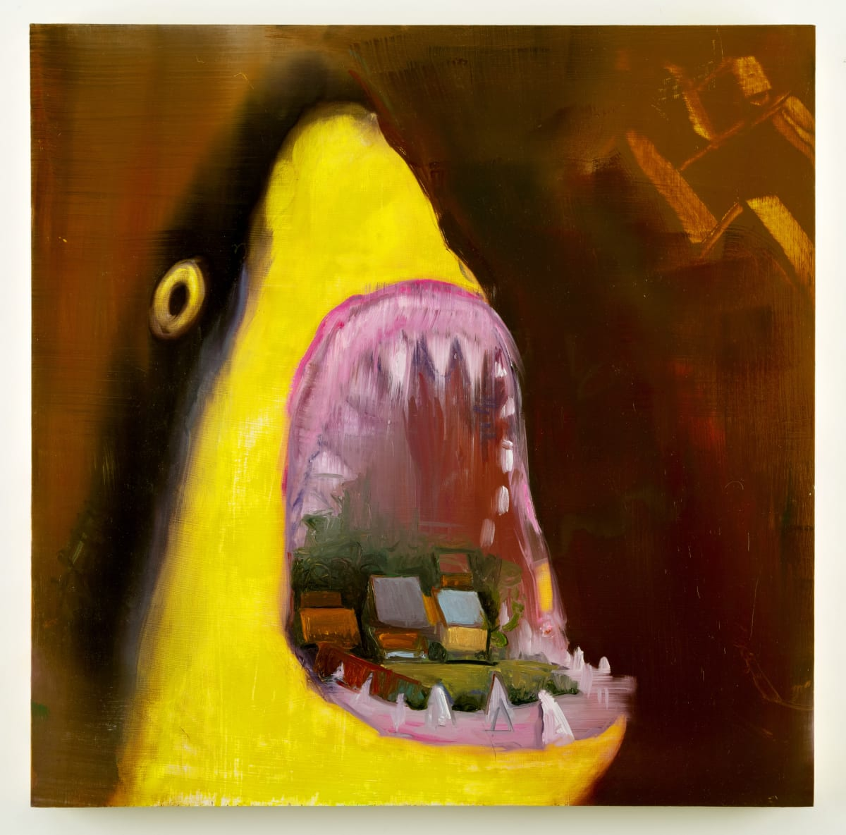Abstract painting on canvas in shades of yellow, brown, black, green, blue and red. The painting depicts a close up of a shark with its mouth open, revealing a small town inside.