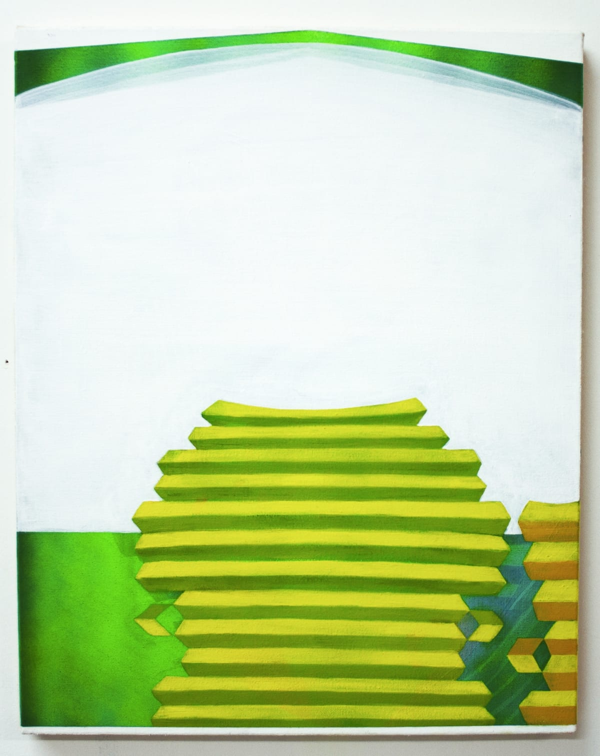 """Catherine Haggarty's """"Frog Tower"""" using fluid acrylic airbrush and oil paint on canvas in various shades of green, white, gray and yellow. The painting as the title suggest is depicting a frog tower and the painted in a green color like an real frog."""