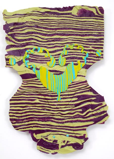 """Daniel Wiener's """"Cross Purposed Into Lattice"""" an Apoxie-Sculpt in various shades of green, yellow and purple. This work closely resembles daily-wear such as flattened out underwear with its textures done with both muted and neon colors."""