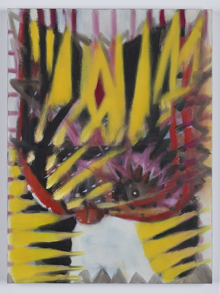 """Mie Yim's """"Hell Kitty"""" oil painting on canvas in various shades of gray, yellow, red, black and white. Long strokes of warm color dominates the canvas. There is a figure in the center that may resemble the cat from the title."""