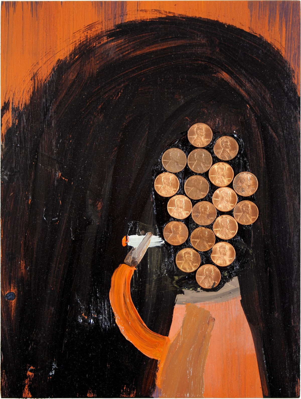 """Charles Yuen's """" Copper Head"""" using oil and coins on panel in various shapes of copper, orange, maroon and black. The work depict a person whose head is completely made out of pennies, detailing the """"Copper Head"""" title."""