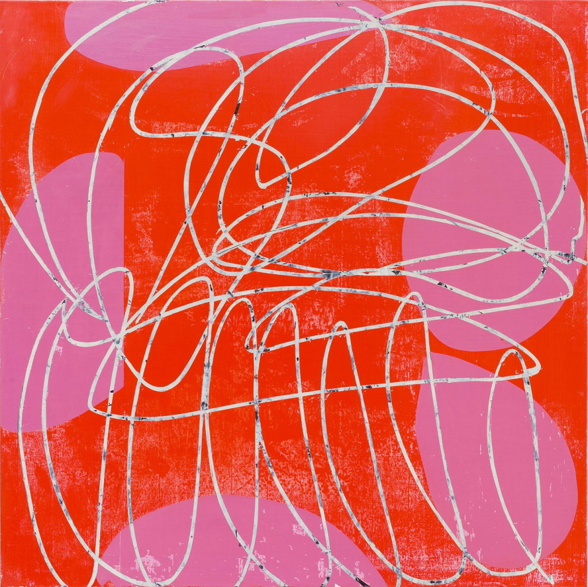 "Mary Didoardo's ""Speak to Me"" oil painting on wood in shades of red, white and pink. The painting is of white lines interlining with each other creating an overlapping movement in the foreground. The background is red with pink shapes."