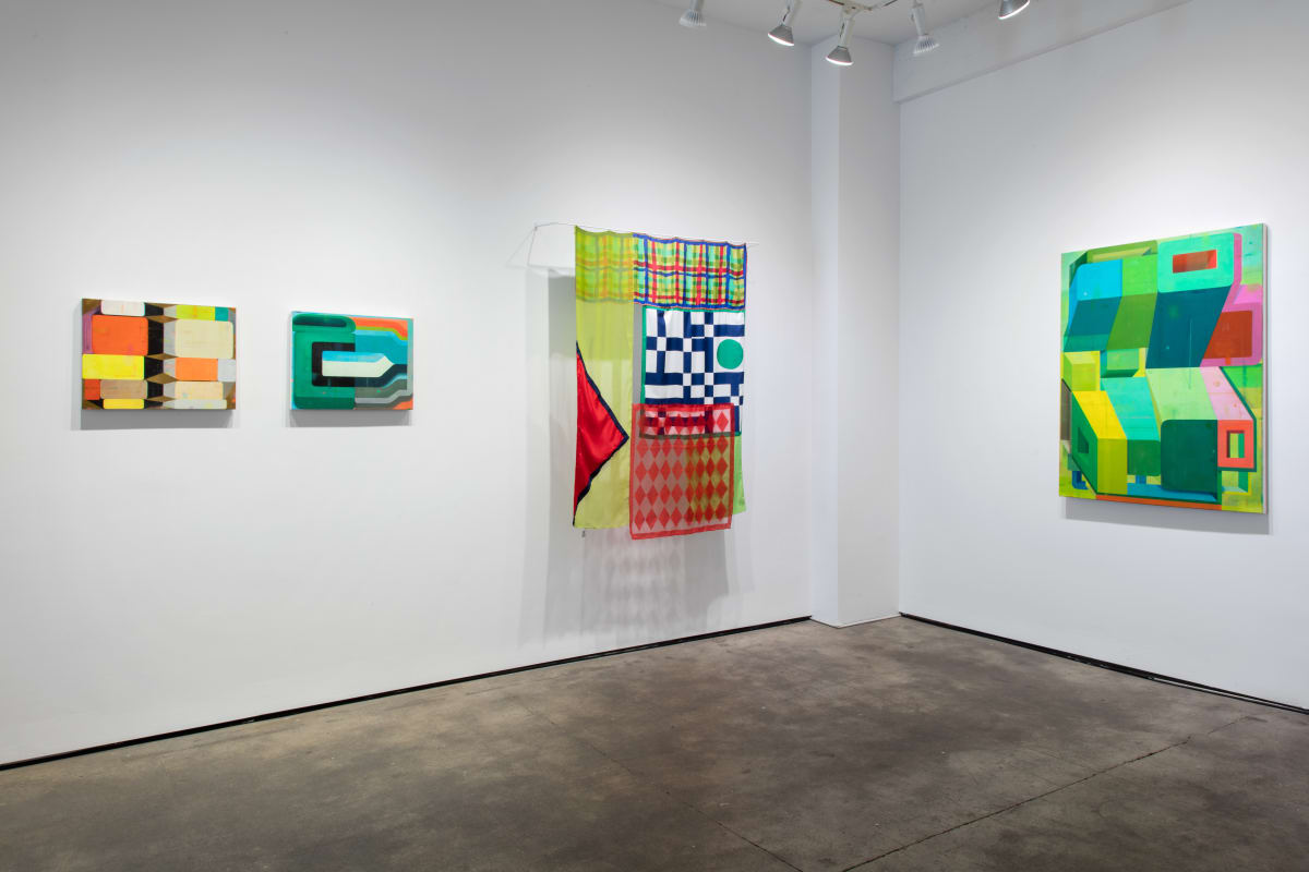 """Installation shot of four pieces of art by Deborah Zlotsky. From left to right, they are """"Yestermorrow"""", """"Kummerspeck (Grief bacon)"""", """"Stop and go"""" and """"Loophole"""". """"Stop and go"""" is made from vintage scarves. The rest are oil on canvas."""