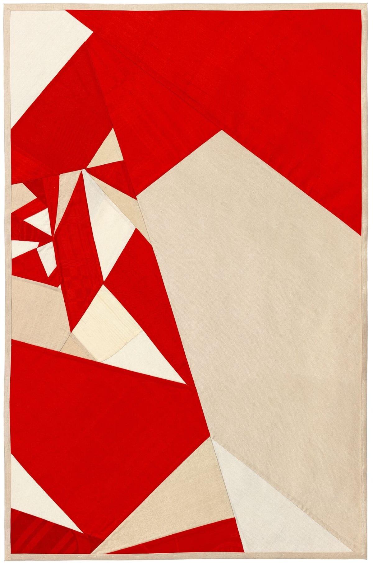 Debra Smith Seeing Red Series, 3, 2019 pieced vintage silk 28 x 19 in.