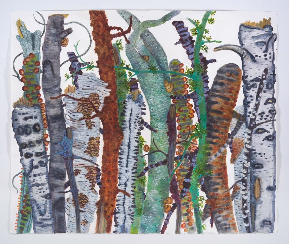 Cocktail Party V by Katie Degroot featuring crowded tree trunks in green gray and brown
