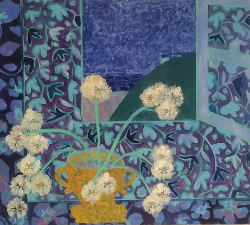 "Denise Regan's ""Chysanthemum"" oil on canvas in various shades of yellow, blue, green and violet. The painting resembles dandelions in a pot that looks like a trophy sitting next to an open window of a dim lit sky. The sky blends with the wallpaper inside."
