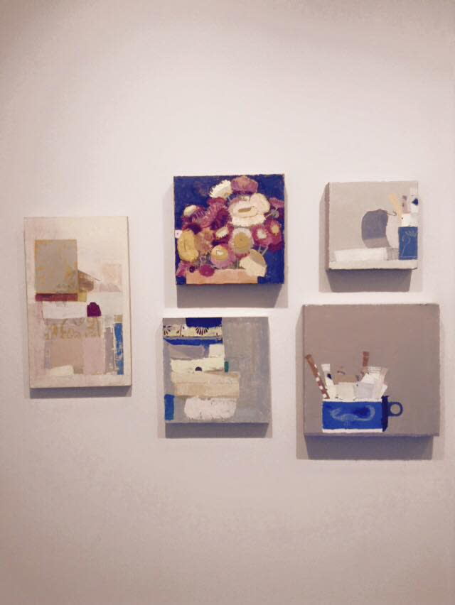 "Installation shot of five paintings by Sydney Licht. They are ""Untitled"", ""Still Life with Flowers"", ""Still Life with Open Can"", ""Untitled"" and ""Still Life with Sugar Packets and Cup #1""."