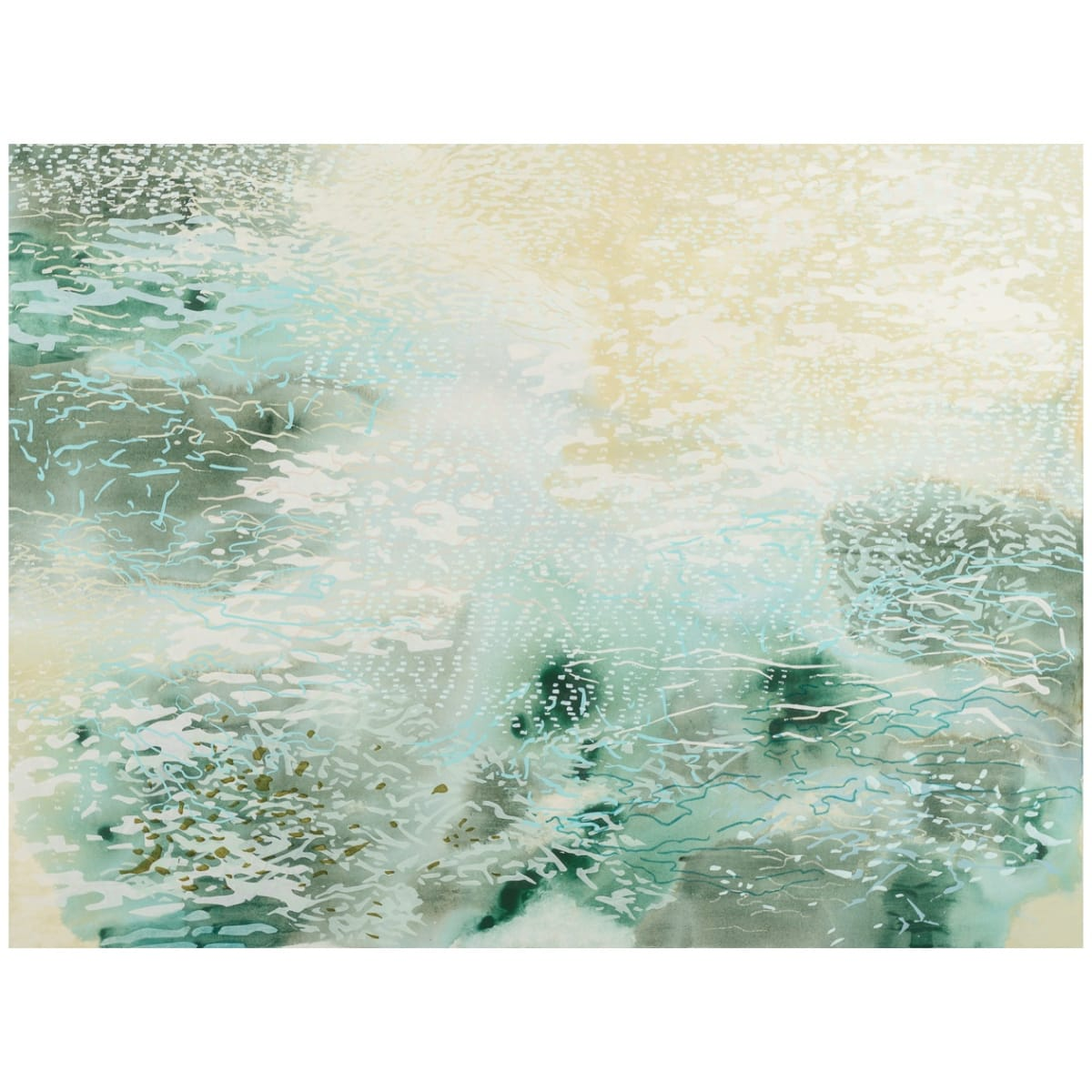 "Laura Fayer's ""Coral Grove"" done with acrylic and rice paper on canvas in various shades of cream, green, and white. The acrylic gradient takes up the whole first layer while the rest has various pieces of rice paper sprinkled."
