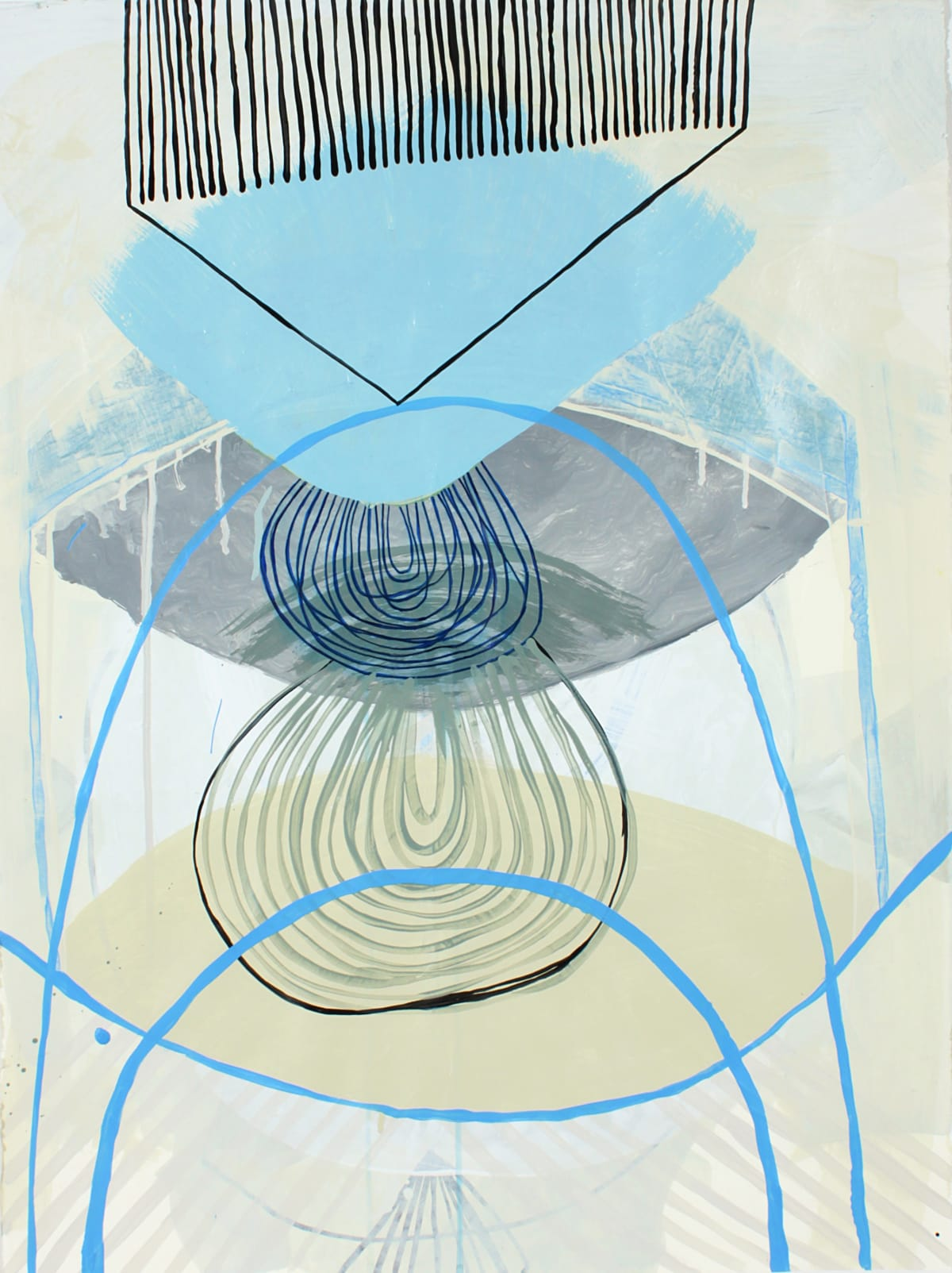"""Ky Anderson's """"Two Over Four"""" done with acrylic and ink on paper in various shades of blue, tan, gray and black. The painting depicts small line strokes on the foreground layer overlapping large more muted flat shape designs."""