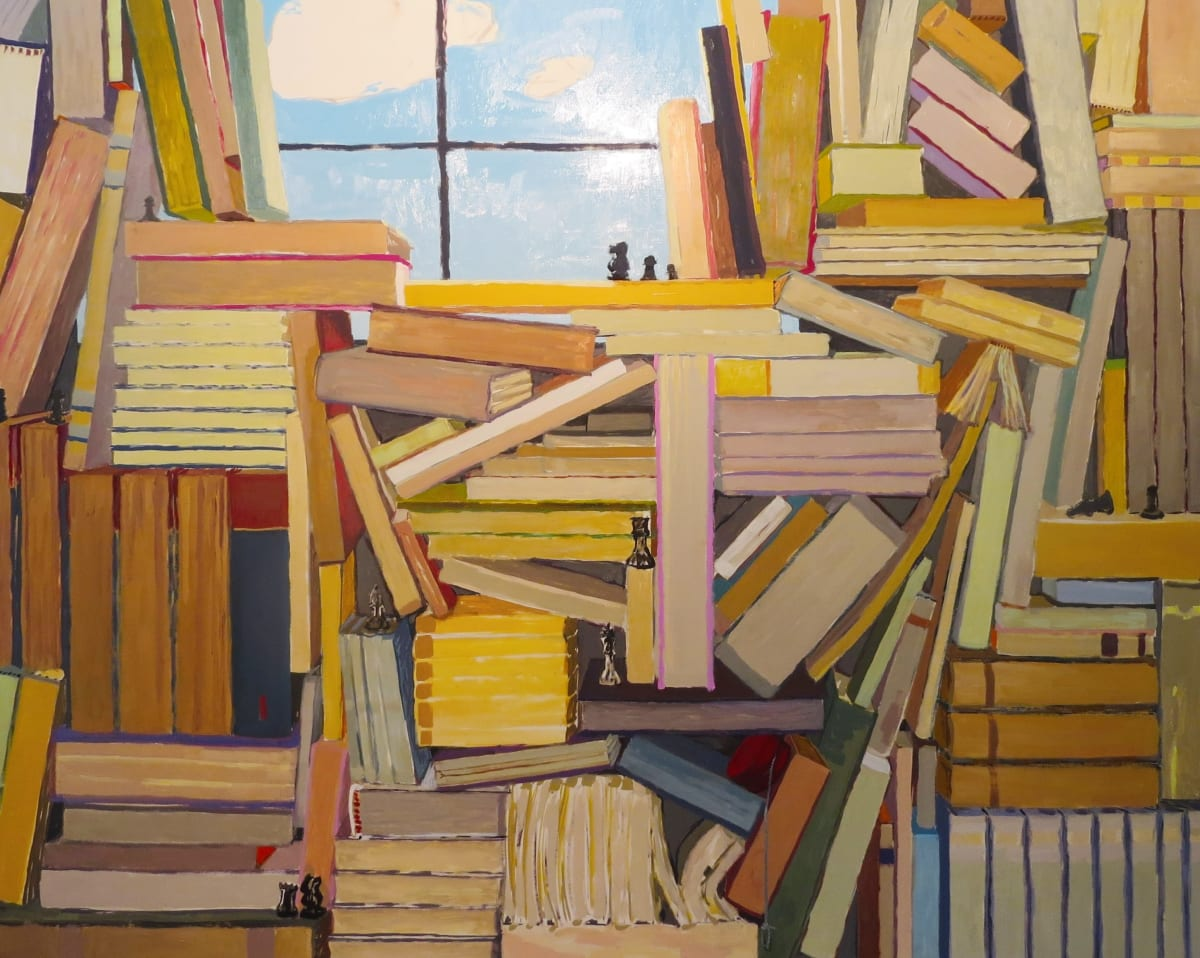 """KK Koznik's """"Czech"""" oil on canvas in various warm and cool colors. The painting depicts several books organized and piled on each other with the sun lit window being the only layer of light. The placement of the books is creating an illusion of depth."""