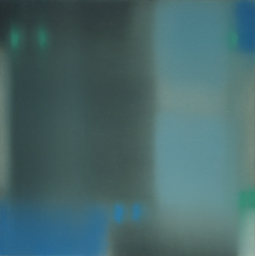 Oil painting on panel by Julian Jackson in various muted shades of blue and green. From a viewer's perspective, the painting is a texture pattern that resemble shadows that are out of focus. This creates an illusion of form.