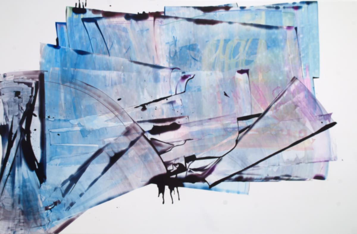 """Sarah Irvin's """"Aboveborad"""" done in ink on yupo in shades of cool colors such as blue, purple and yellow. Strokes of ink are painted on each other creating an illusion of depth as the pattern overlaps and recedes."""