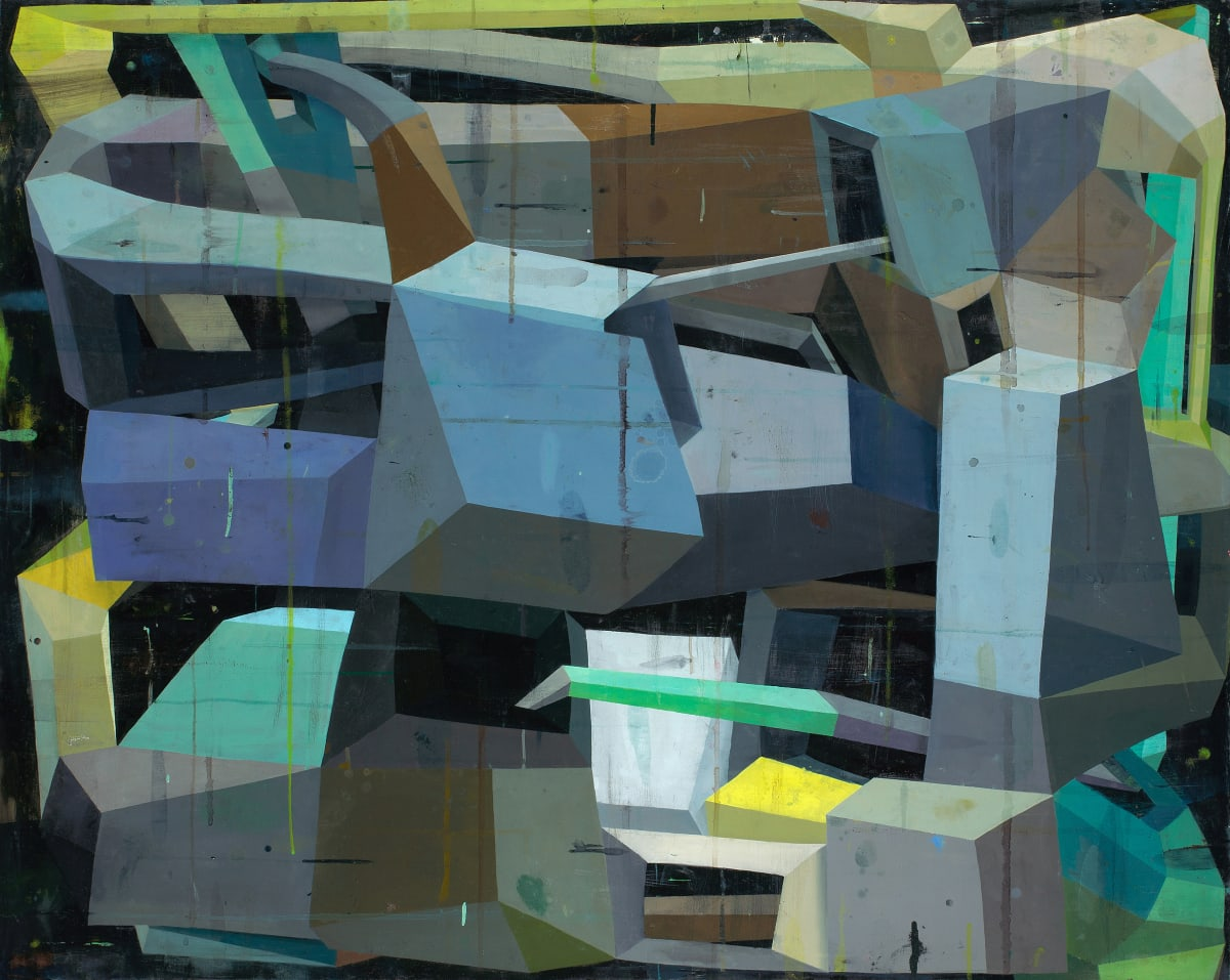 "Deborah Zlotsky's ""Fata Morgana"" oil painting on canvas in various shades of brown, gray, blue, beige and yellow. The painting depicts cube-like shape patterns. The layers of bright and dark colors on each side of the cubes create an illusion of depth."