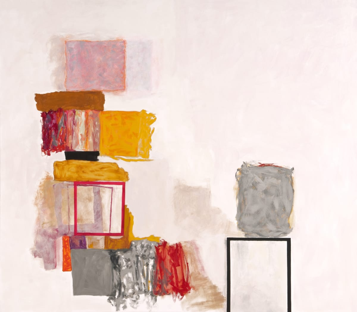 """Rocio Rodriguez's """"Bits and Pieces"""" oil painting on canvas in shades of pink, red, yellow, gray and brown. The painting depicts squares spread throughout the canvas. The title may be referring to what the squares are representing making it abstract."""