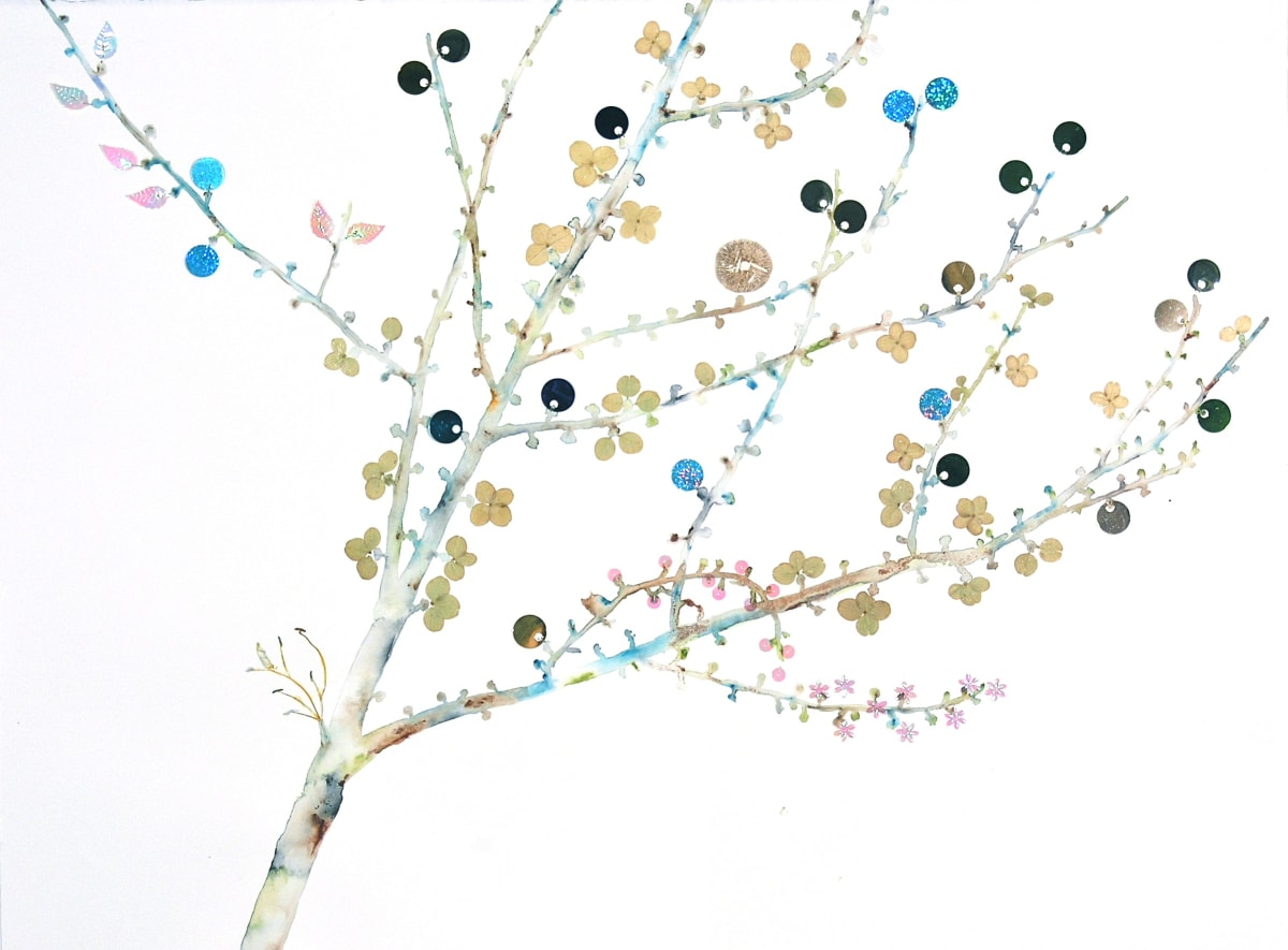 """Marilla Palmer's """"Tree Buds"""" mixed media in Arches paper in shades of blue, green, gray, brown and pink. The painting depicts a tree in a gradient white background. The buds are small and sprinkled throughout the branches that it gives a feel of spring."""