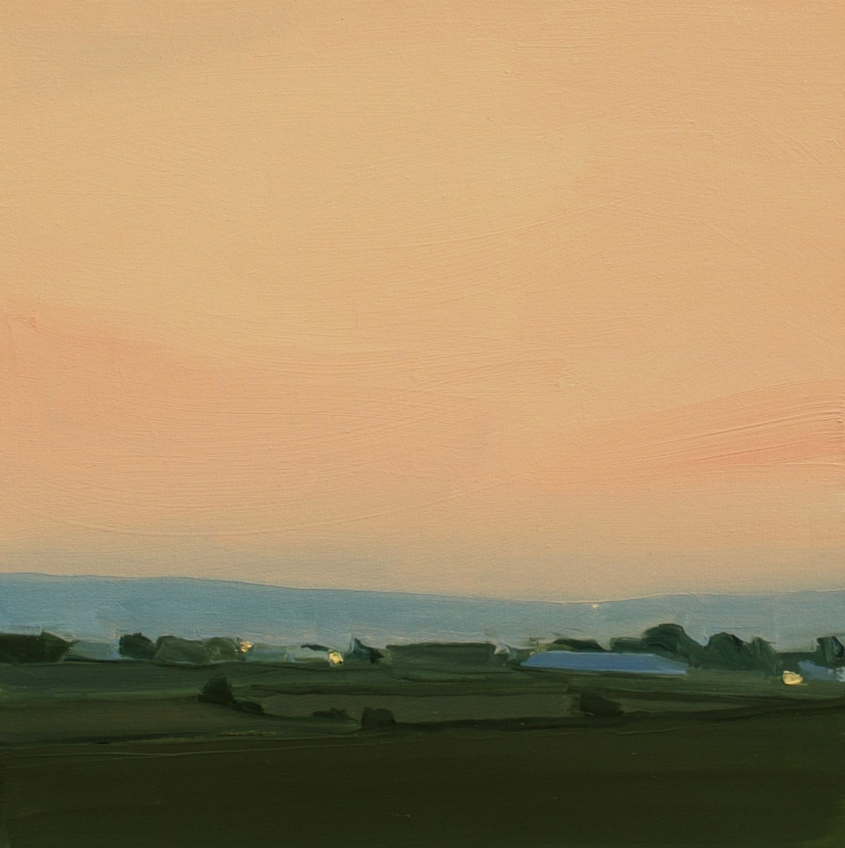 "Sara McCulloch's ""Kingsport Sunset"" oil painting on canvas. The painting depicts a sunset setting as shown by the shades of red and tan and the bottom layers painted in shades of green and blue."