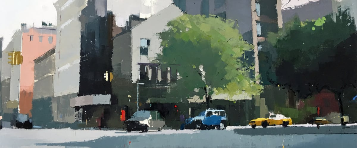 """Lisa Breslow's """"Soho Morning"""" oil painting and pencil on canvas in several shades of gray, green, blue, yellow and pink. The painting depicts a town setting with traffic moving and trees that are blending in with the buildings."""