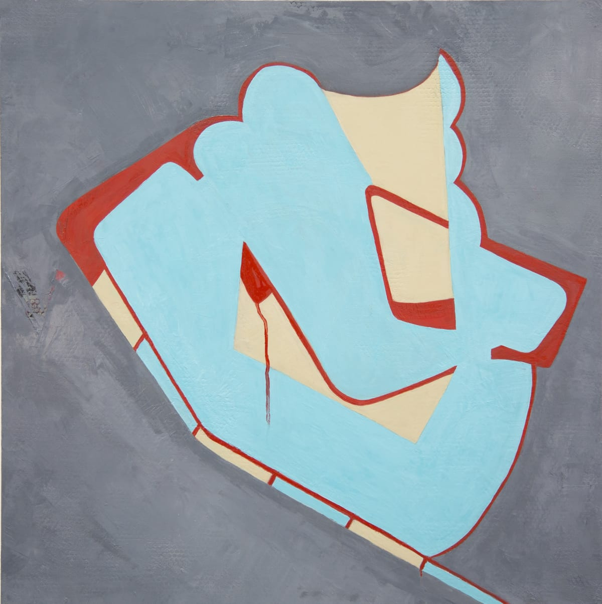 """Fran Shalom's """"Moxie"""" oil on canvas using primary and neutral colors. This painting has a graffiti-like design that consists of light turquoise, persian red, and cream colors that is centered in a cooler gray background."""