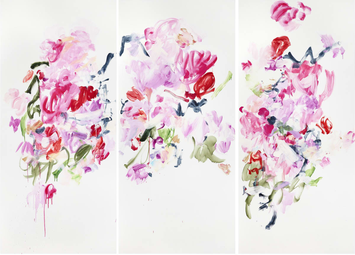 Abstract paintings on three separate canvases. The paintings resemble flowers represented by the overlapping shades of red, pink and violet. The paintings come off as asymmetrical with the designs painted in different directions.