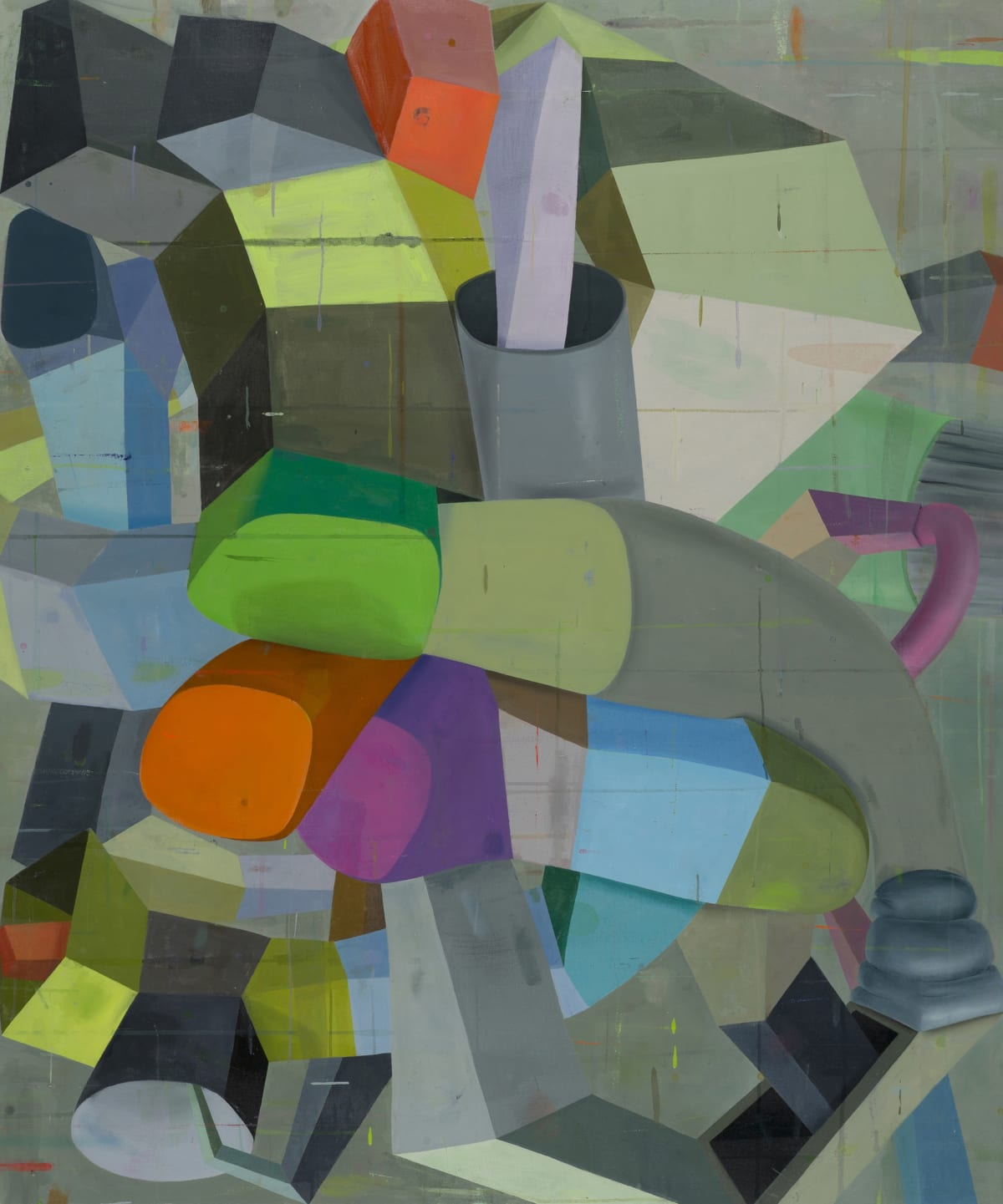 """Deborah Zlotsky's """"Pittsburgh left"""" oil painting on canvas in various shades of gray, green, red, purple and blue. The painting depicts several three dimensional surreal shapes that gives a sense of cubism and depth with the shapes overlapping each other."""