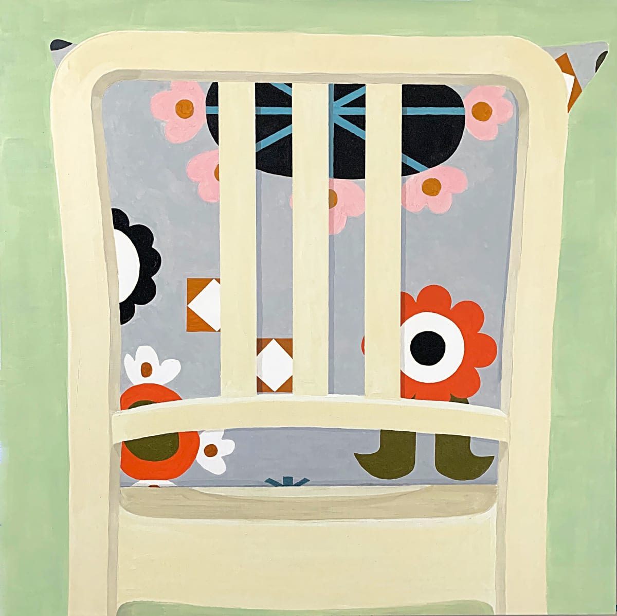 painting of a chair with cushion