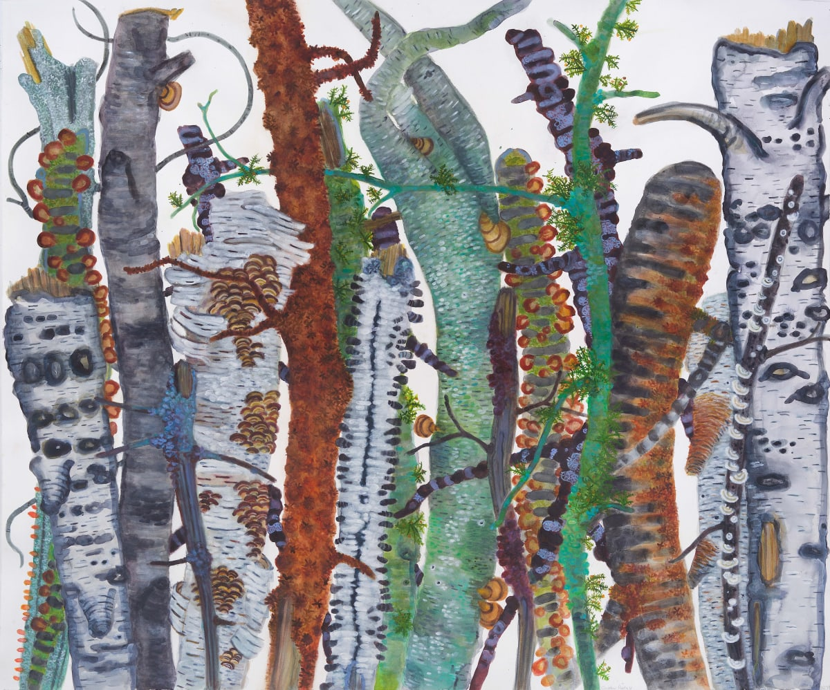 Colorful tree trunks painting by Katie DeGroot