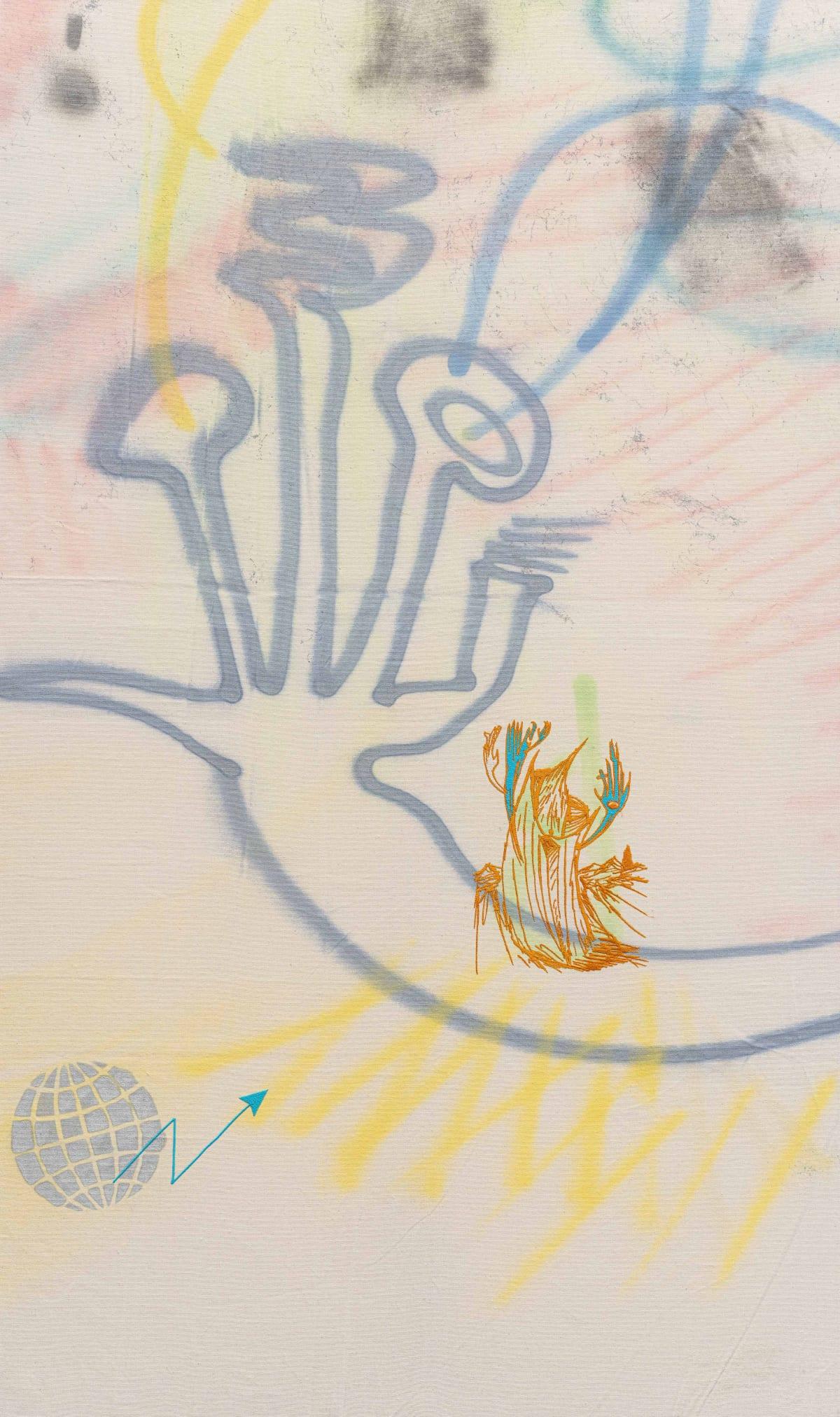 Niko Abramidis & NE Anamorphic Growth, 2018 canvas, spraypaint, embroidery 155 x 92 x 5 cm 61 1/8 x 36...