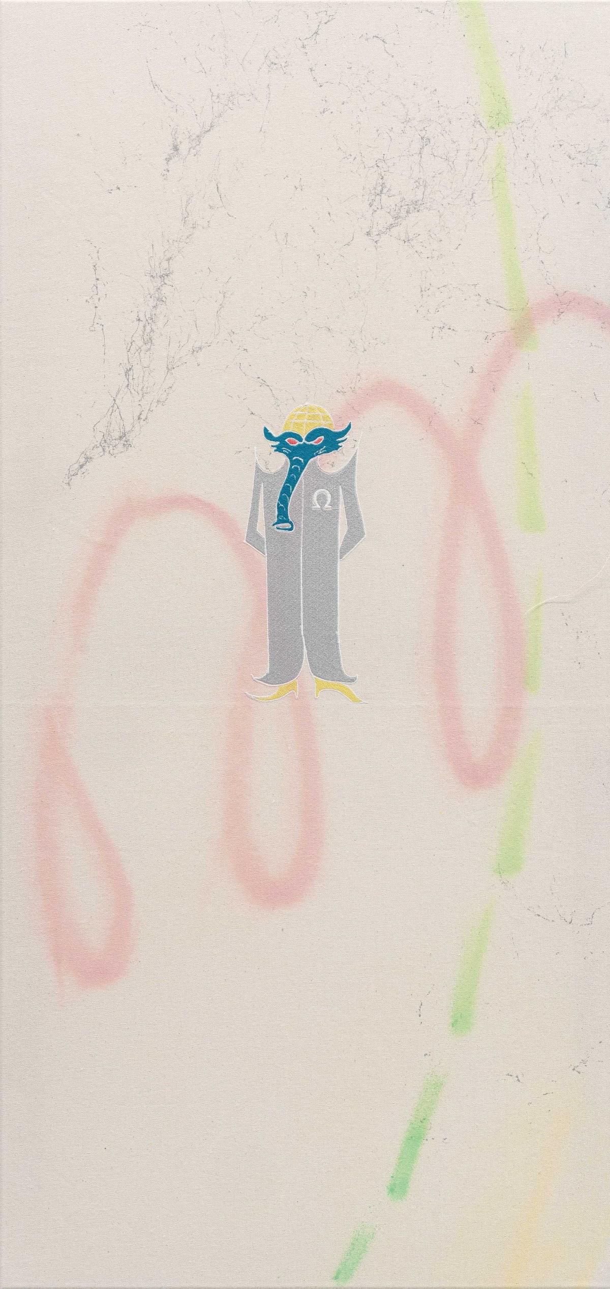 Niko Abramidis & NE Omega Anteater Scientist, 2019 canvas, spraypaint, embroidery 125 x 60 x 4 cm 49 1/4 x...