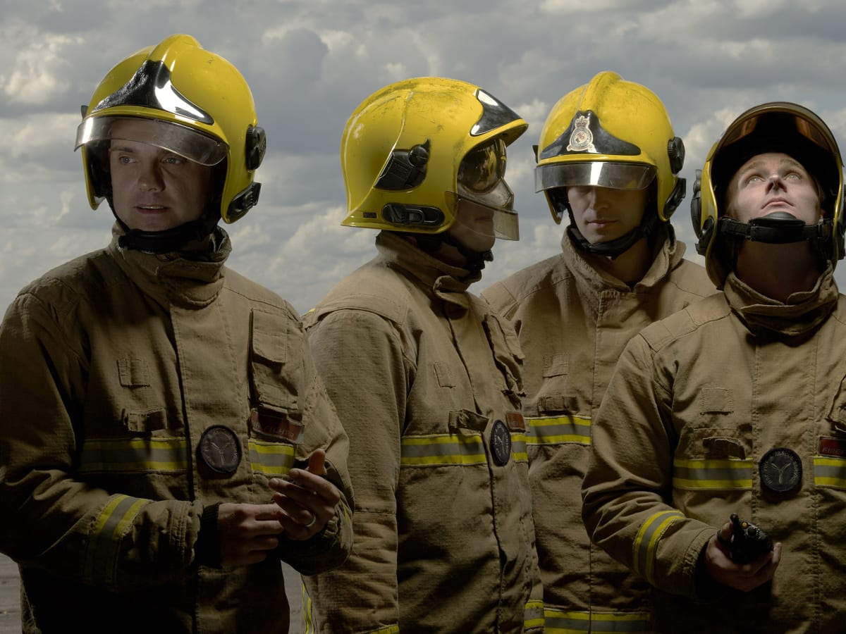 Brian Griffin, Corporal Sean, Senior Aircraftmen Simon, Ryan and Ash, RAF Firemen, Benson, England., 2017
