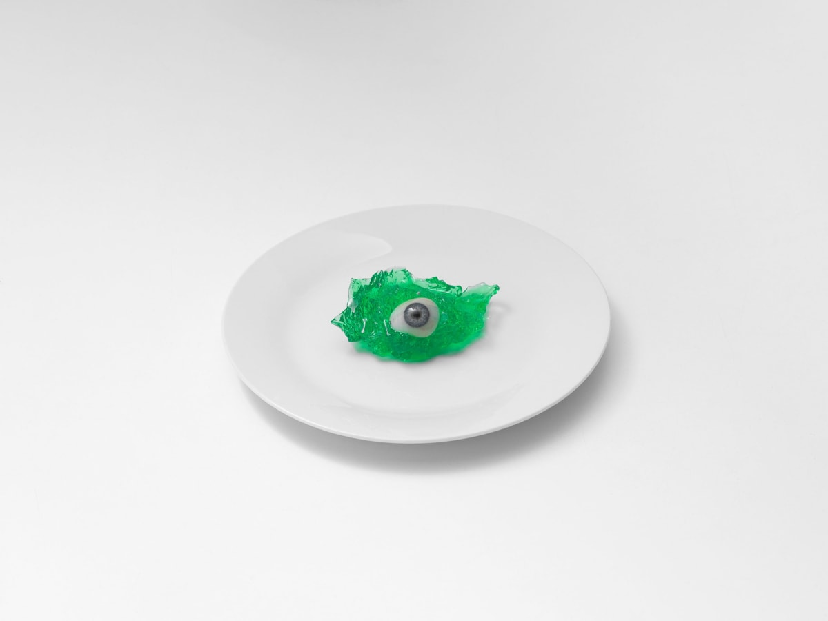Brian Griffin, Glass Eye on White Plate, London, 2017