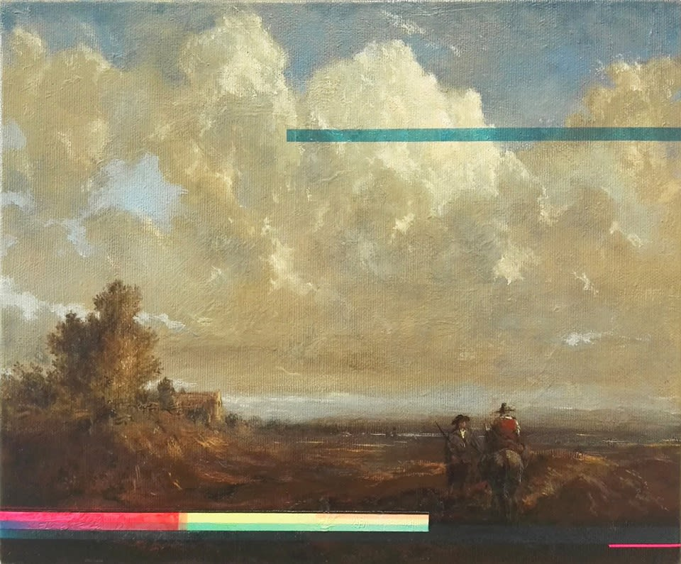 Landscape with horseman II oil & ink on canvas 25.2 x 30.6 cm
