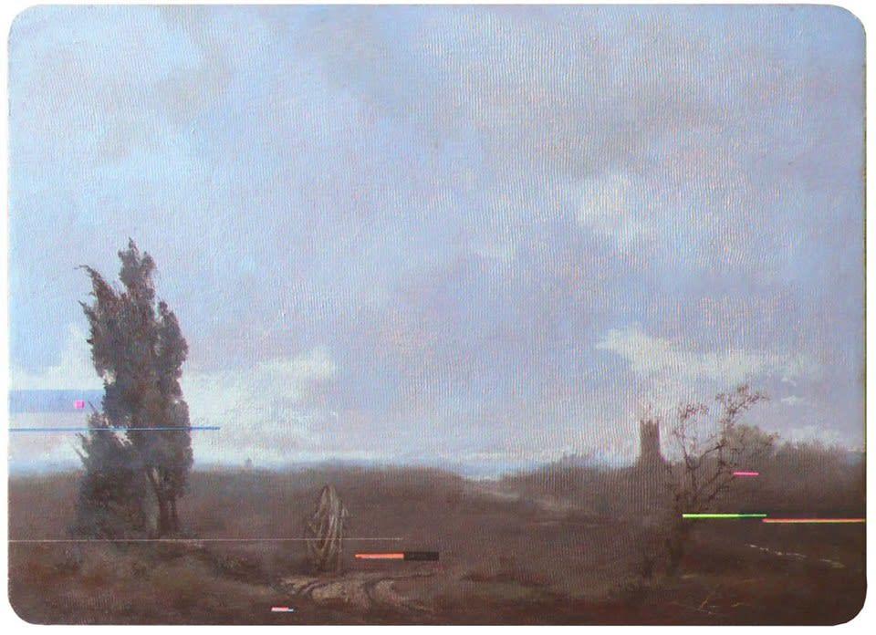 Ode to Böcklin oil, acrylic, ink & sgraffito on panel 22.5 x 30.5 cm