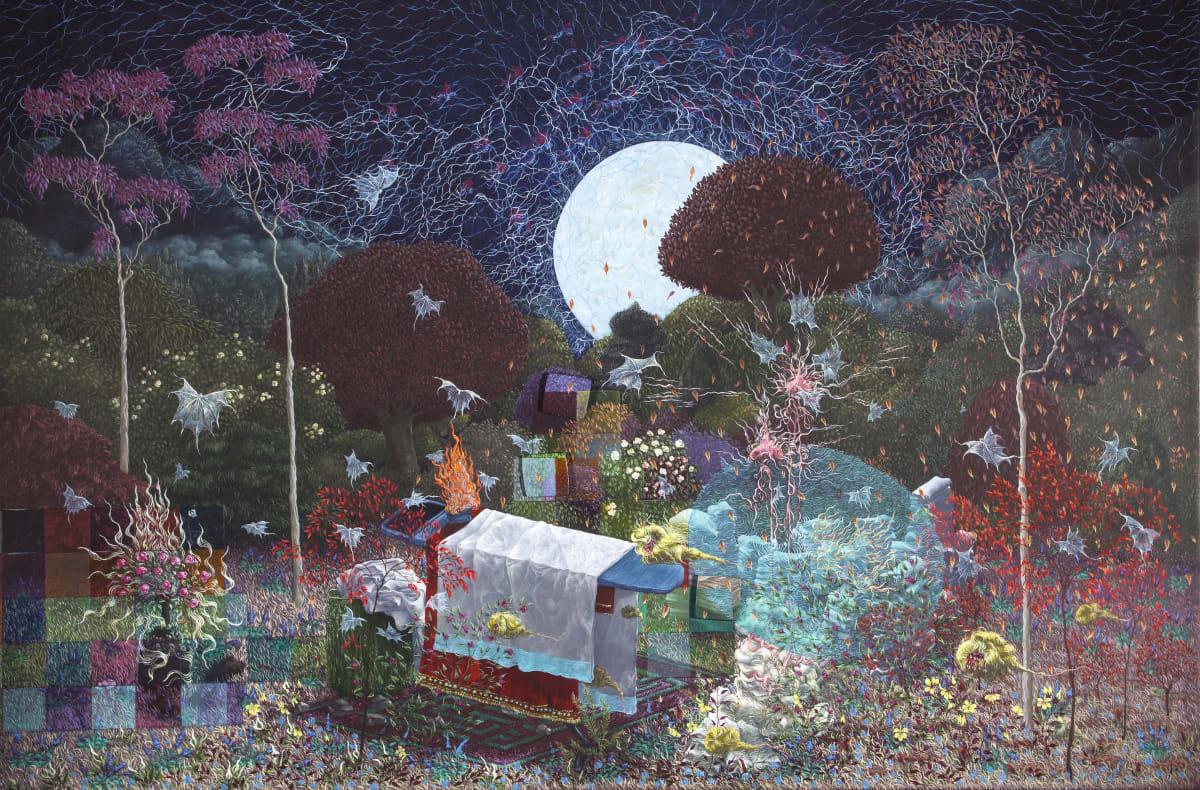 Sahasrara oil on gesso panel 36 x 54 cm