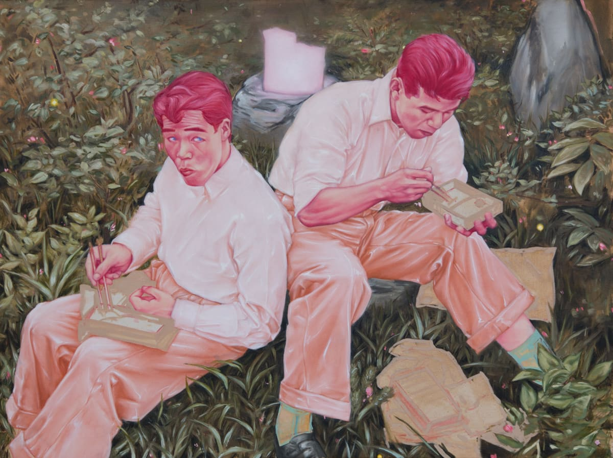 Shane Berkery Lunch in the meadow Oil on canvas 70 x 95 cm