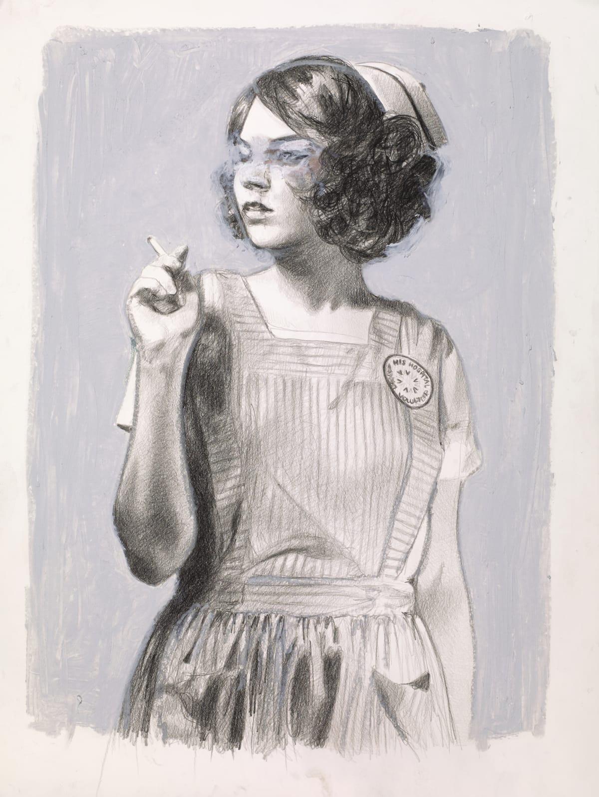 "Candy striper smoking ~ pencil & oil pastel on paper ~ 24 x 18"""