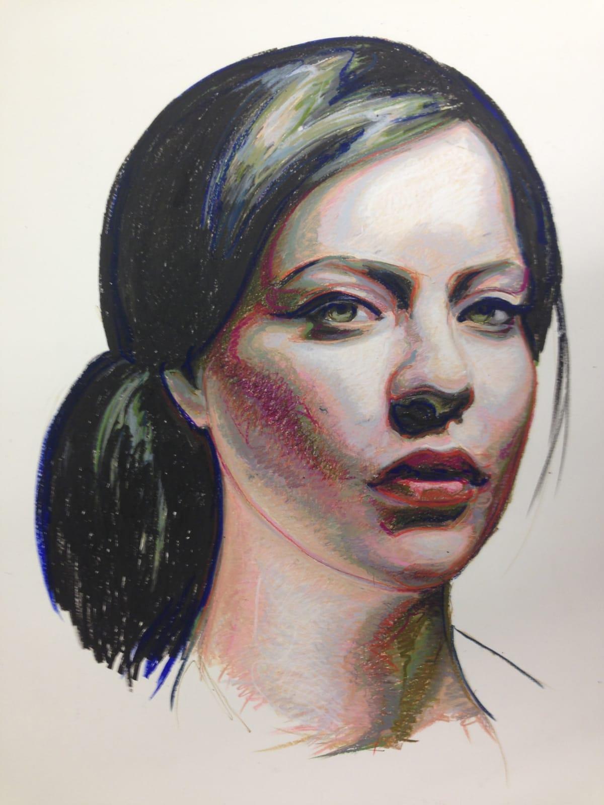 """Jennie ~ oil pastel on paper ~ 56 x 41"""""""