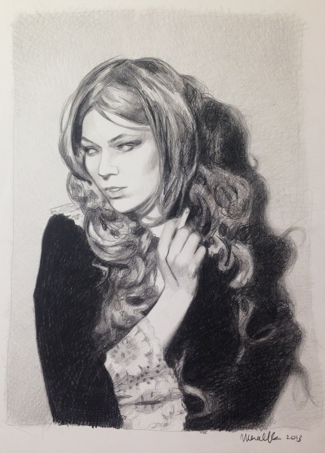 Mercedes Helnwein Cousin IV Black pencil on paper 15.5 x 11