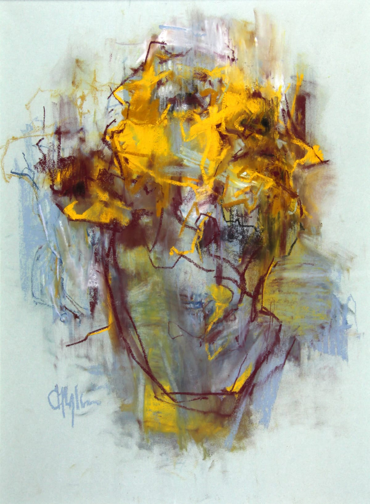 Cian McLoughlin Tronie - Yellow drawing Chalk on paper 27 x 20 inches