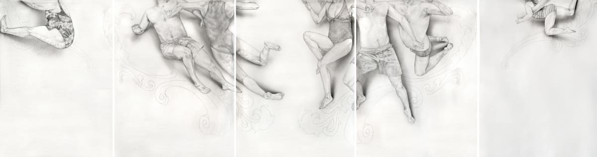 Public swimming pool, 5-panel drawing, pencil & ink on paper, 150 x 133cm each