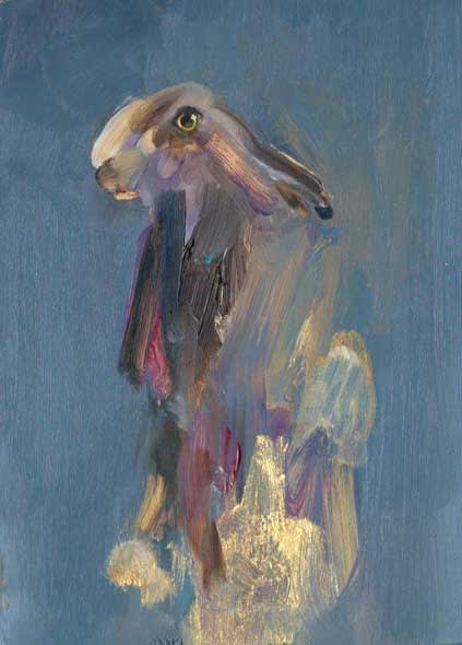 Hare, oil on gesso panel, 18 x 13cm