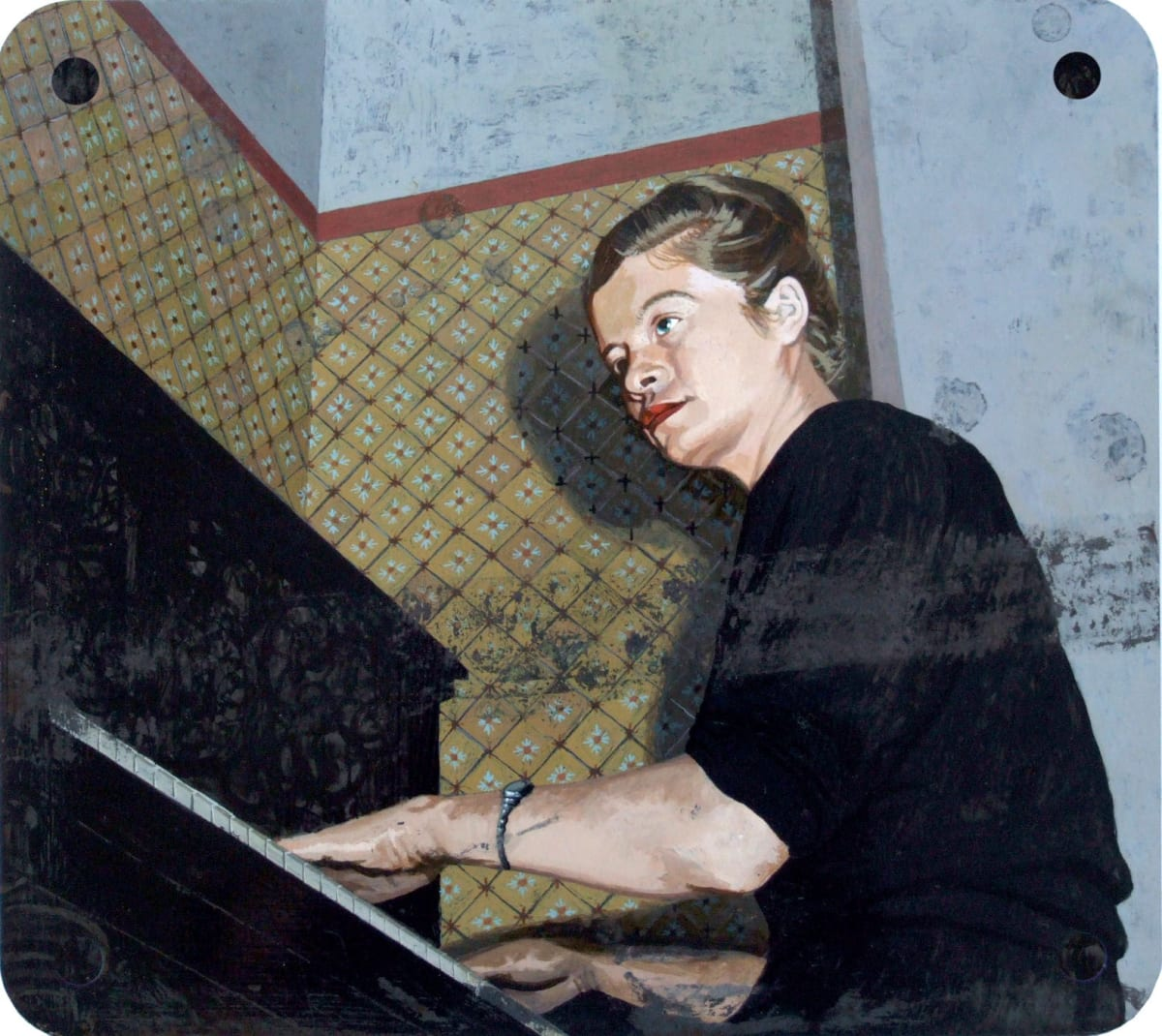 Catherine Barron Piano Acrylic ink on sheet metal 26 x 29 cm