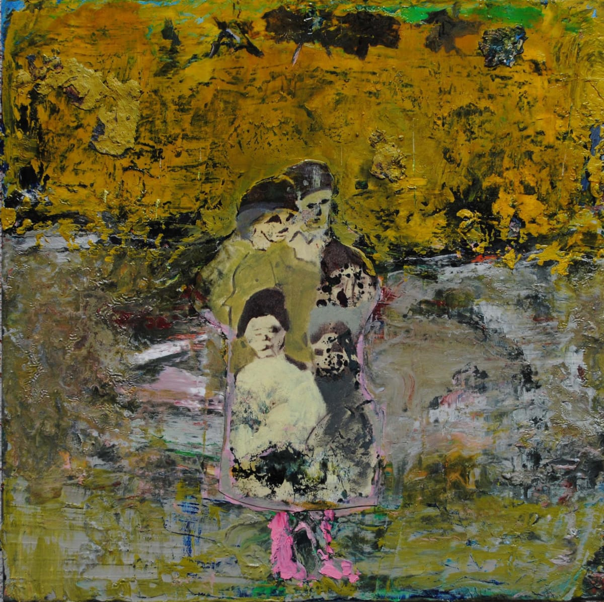 Thomas Brezing Family on the road Oil on canvas 30 x 30 cm