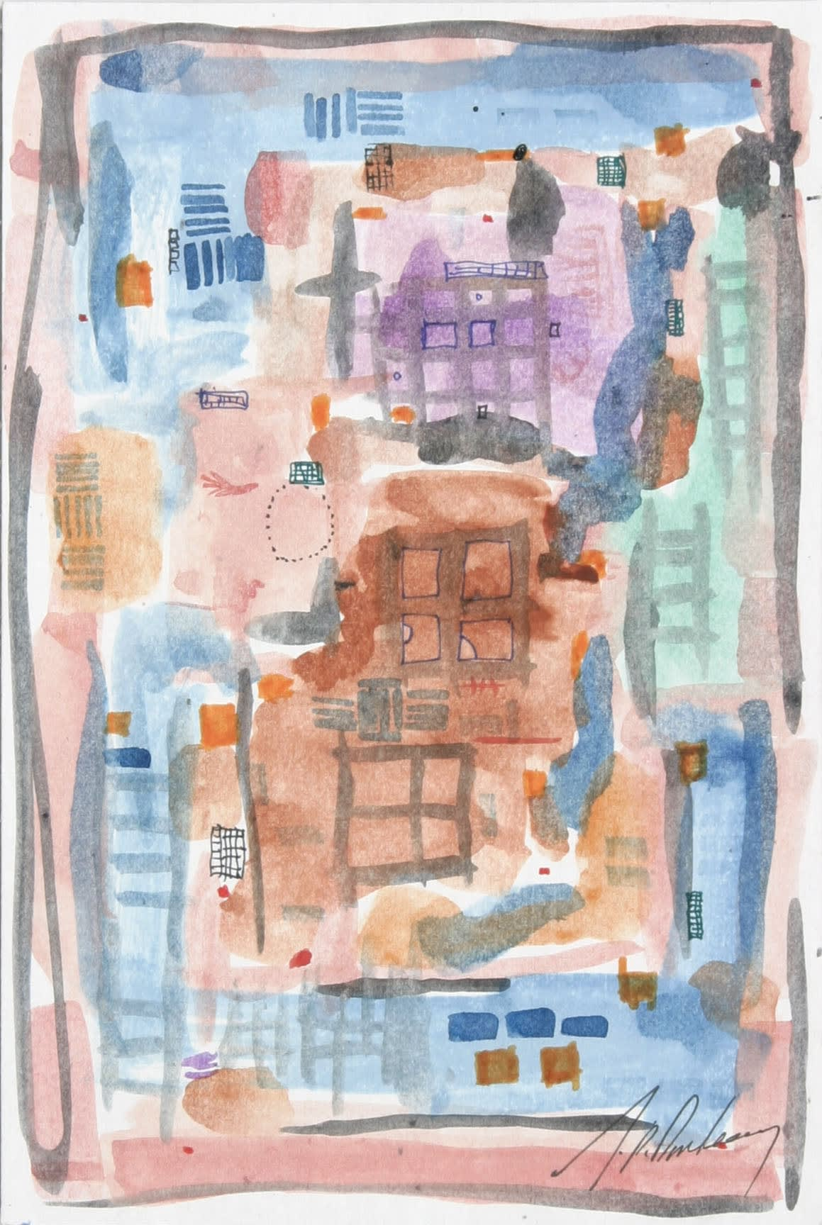 J.P. Donleavy Park Avenue and Sixty Seventh Watercolour with pen & ink 23 x 15 cm